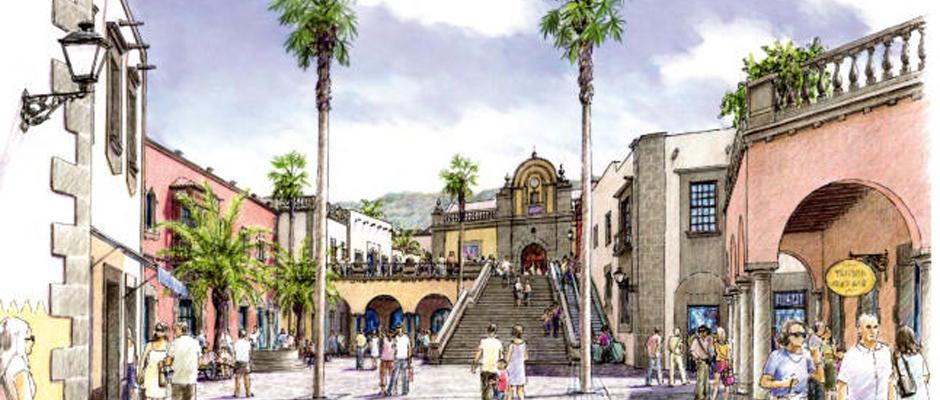 Boceto del pueblo canario en el que ser convertirá el futuro centro comercial de Gáldar.