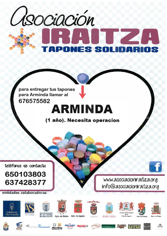 Cartel de la recogida de tapones para Arminda.