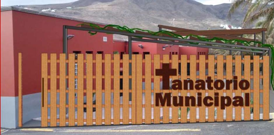 Recreación virtual del proyecto de cubrición del exterior del Tanatorio municipal.