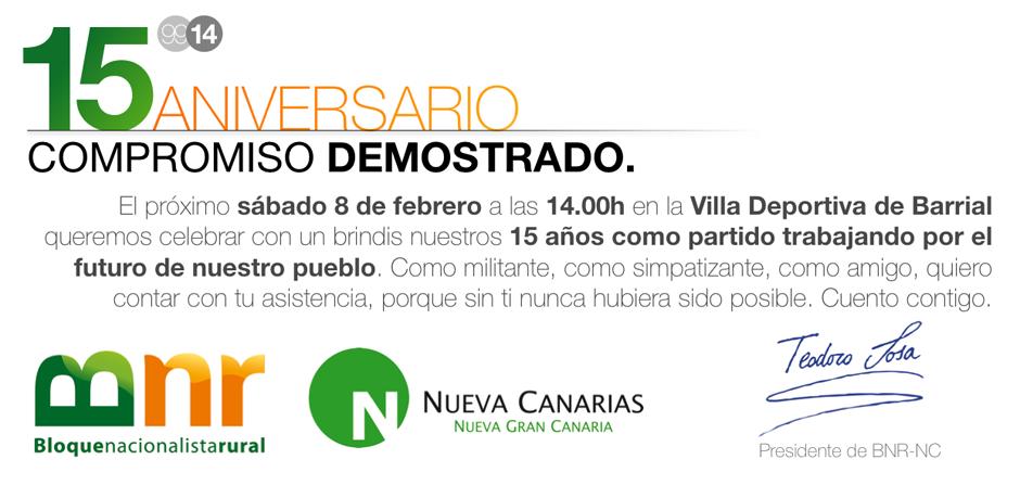 Invitación al acto de Teodoro Sosa, presidente del partido y alcalde de Gáldar.