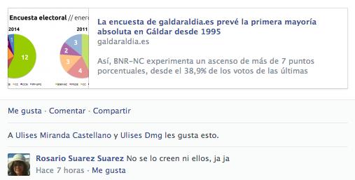Comentario de reacción a la encuesta de la concejal de PP-UPG Rosario Suárez en Facebook.