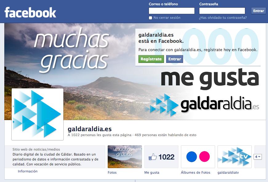 La página de Facebook de galdaraldia.es este lunes, cuando superó los 1.000 me gustas.