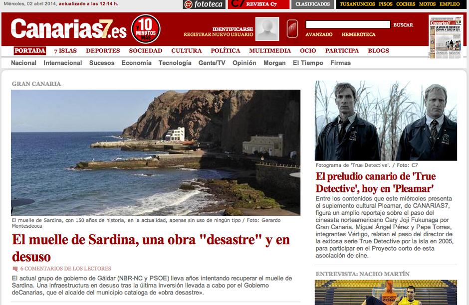 Captura de pantalla de la portada en la web de Canarias 7 este miércoles.