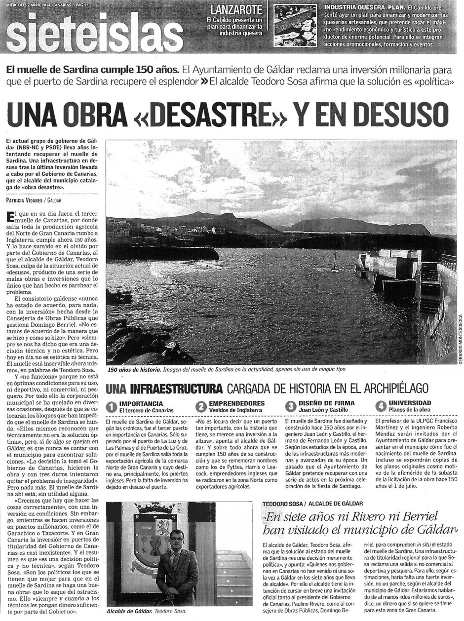 Recorte de la página de la noticia en el periódico Canarias 7 de este miércoles.