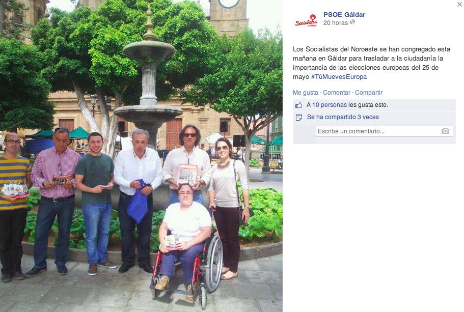 Captura de pantalla del Facebook del PSOE donde publicitaron los actos de campaña realizados este 1 de mayo en la Plaza de Santiago durante la Feria del Queso.