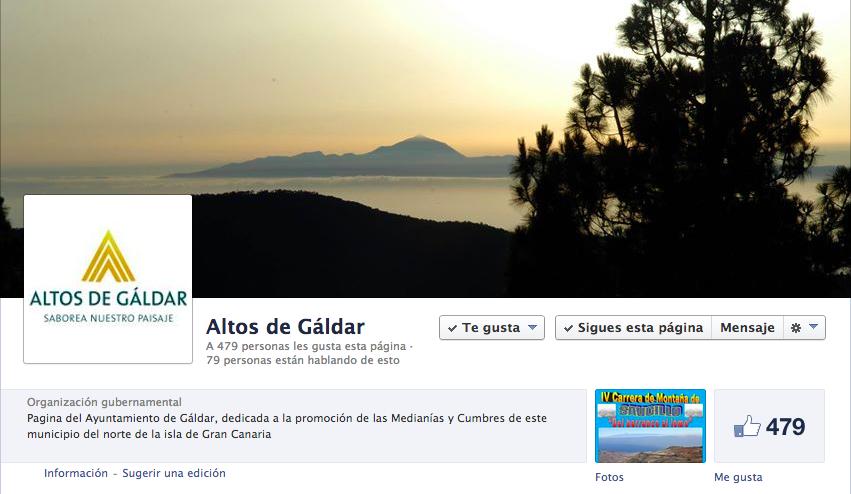 Captura de pantalla de la nueva página de Facebook de esta marca para promocionar las medianías galdenses.