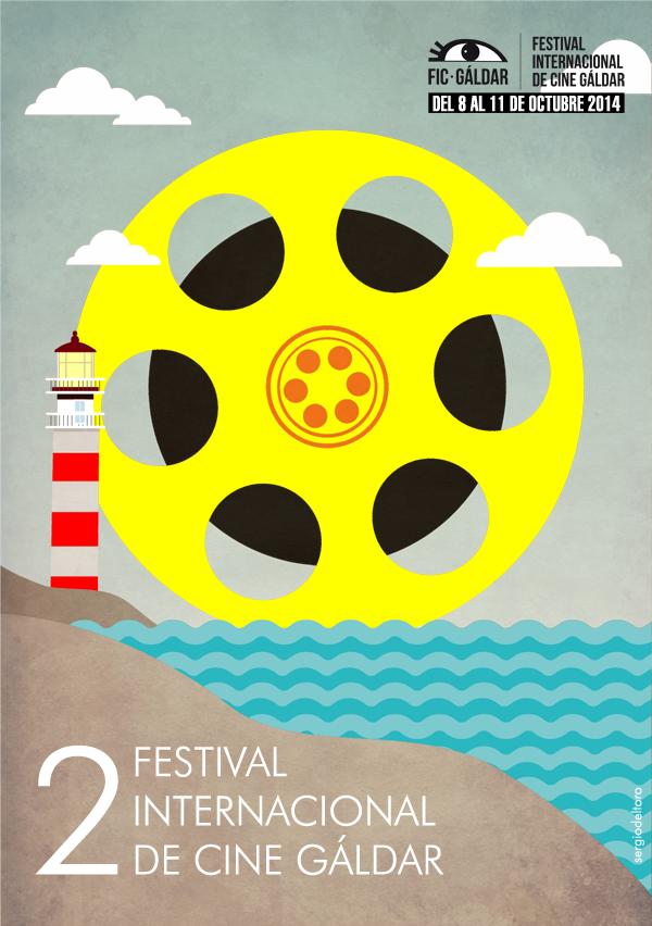 Cartel Oficial de la segunda edición del FIC Gáldar - Festival Internacional de Cine Gáldar. Diseño del artista galdense, Sergio Del Toro.