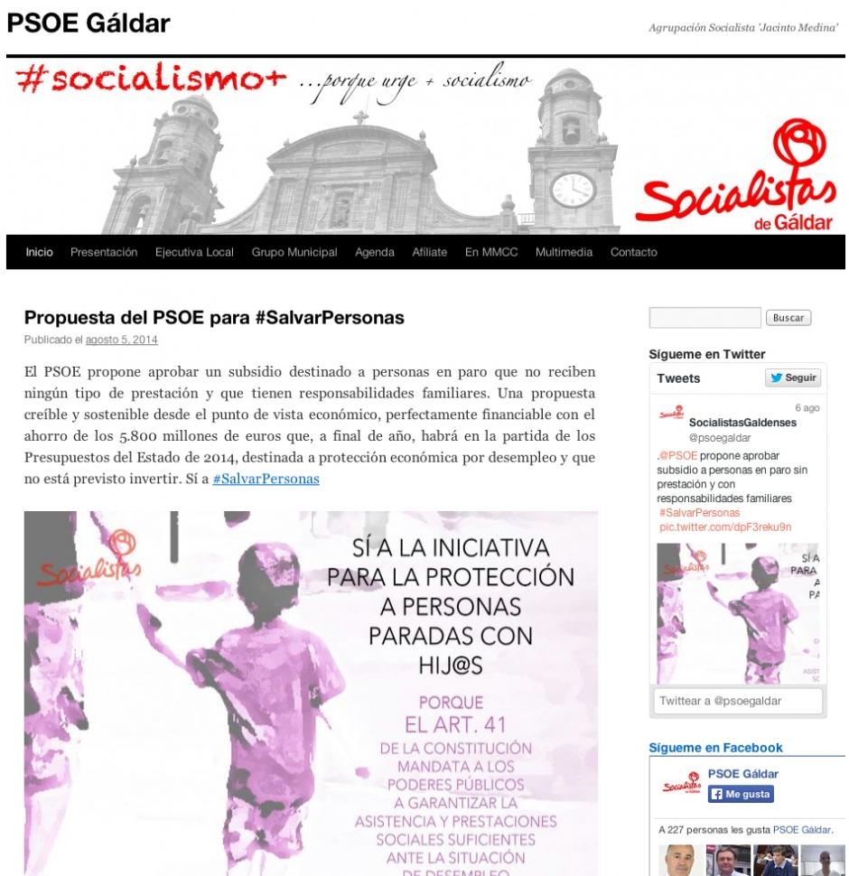 Captura de pantalla de la nueva web socialista.