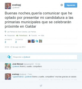 Mensaje de Evelio Pérez publicado en twitter
