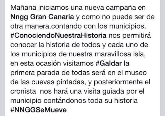 Mensaje publicado en Facebook por Nuevas Generaciones Gran Canaria.