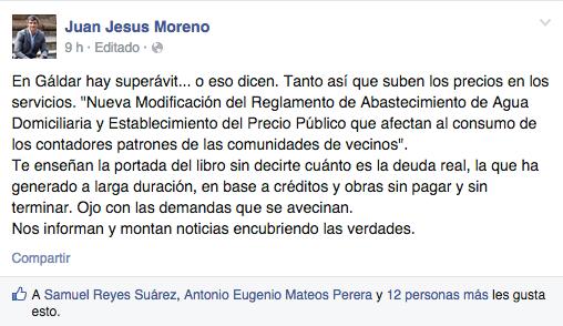 Comentario de Juan Jesús Moreno, candidato del PSOE a la alcaldía de Gáldar, en su perfil de la red social Facebook.