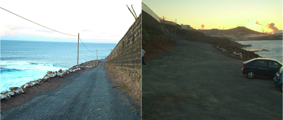 Estado del camino tras el arreglo, donde se han eliminado los baches y mejorado el firme.