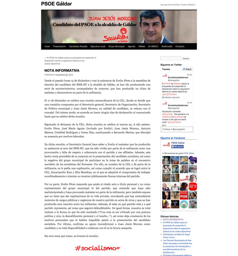 Imagen de la polémica nota informativa del PSOE de Gáldar.