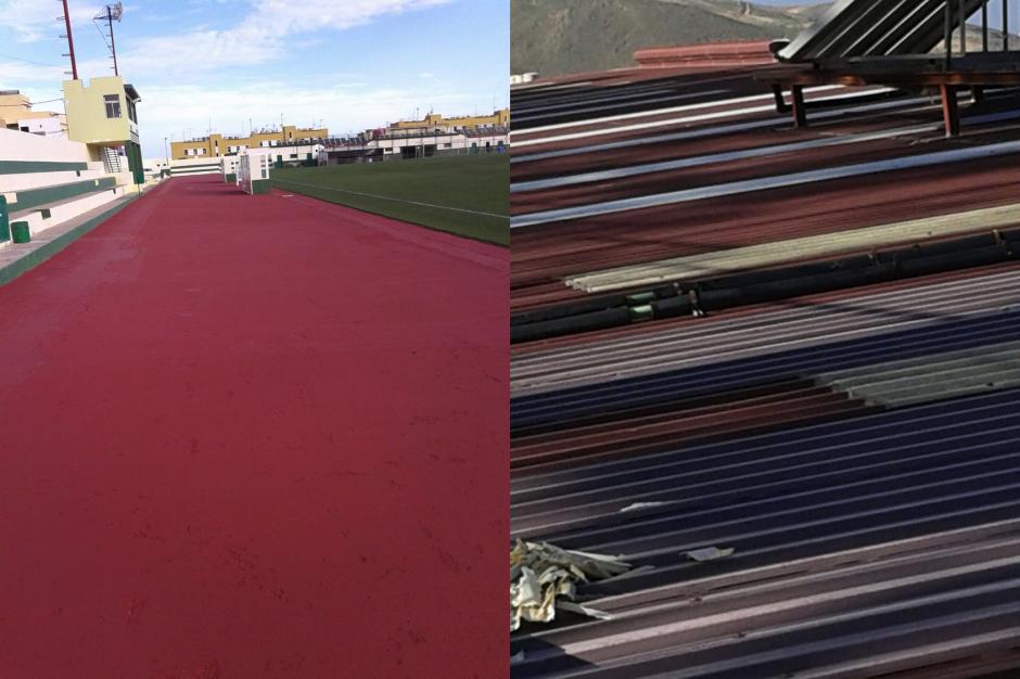 A la izquierda, mejoras en el campo de fútbol de Barrial. A la derecha, el renovado techo del polideportivo de La Montaña.