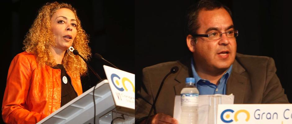 Eloísa Ojeda y Juan Domínguez durante un acto de su partido celebrado en el Teatro Consistorial de Gáldar.