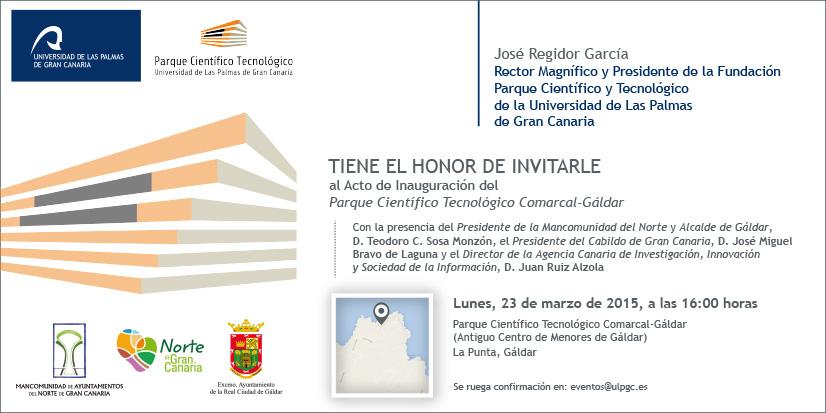Invitación a la inauguración del PCT de Gáldar.