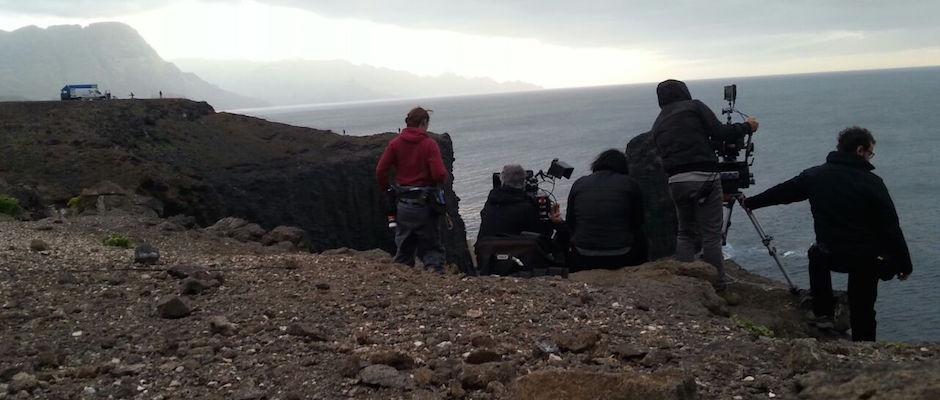 El equipo rodando en la zona de El Farallón durante los primeros días de esta semana.